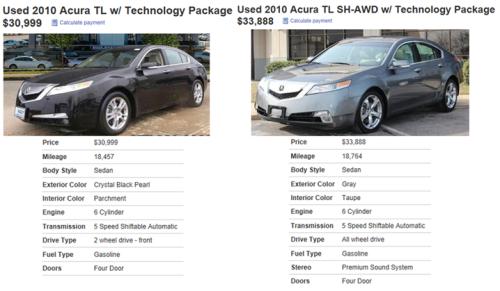 Acura TL Compare